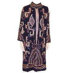 1920's Art Deco Black Coat with Soutache Embroidery & Trim