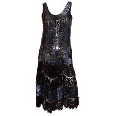 Mid-1920's Black Iridescent Sequined Flapper Dress on Black Mesh