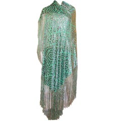 1920's Silver Cut-Silk Velvet & Medium Green Silk Shawl