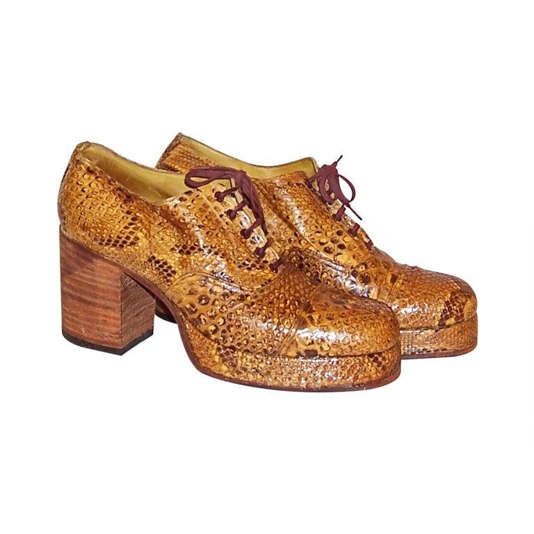 s 1970 s original rock band snakeskin platform shoes