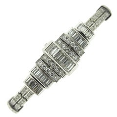 AUDEMARS PIGUET Art Deco Diamond Platinum B-Wind Bracelet-Watch