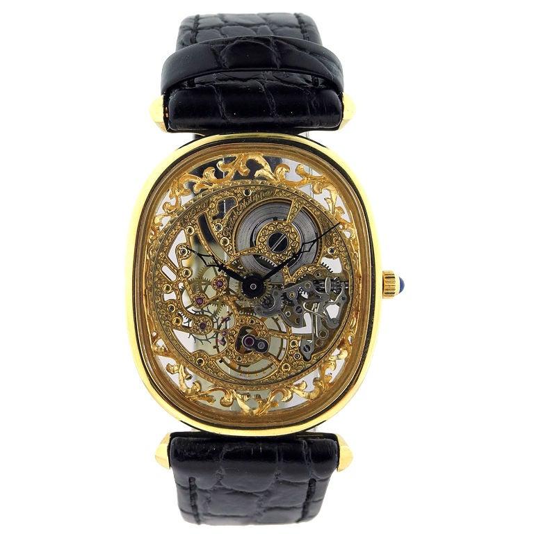Patek philippe skeleton yellow gold oval gentlaman 39 s wristwatch at 1stdibs for Patek philippe skeleton