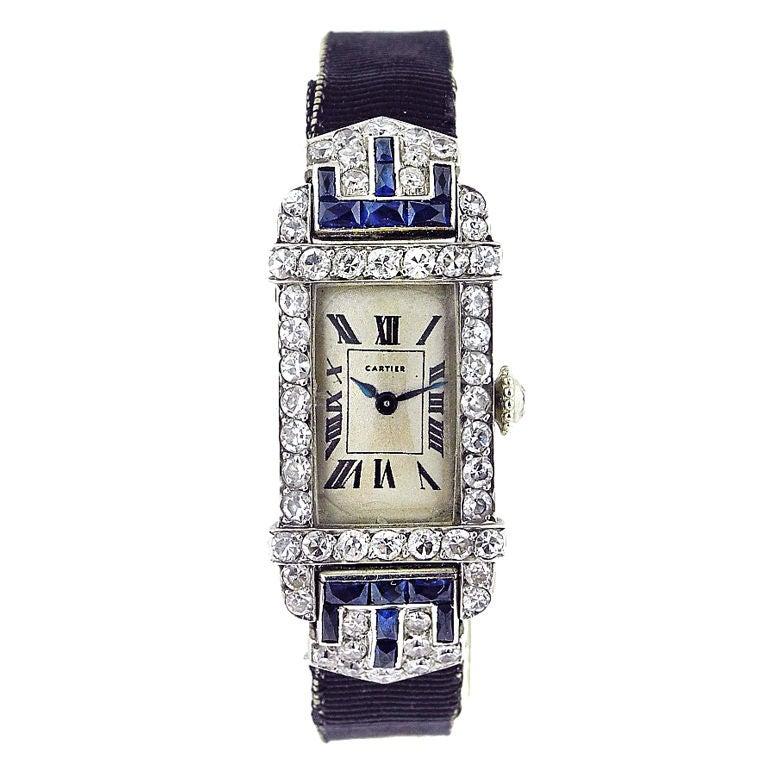 CARTIER Art Deco Ladies Rectangle Diamond Sapphire Watch ...