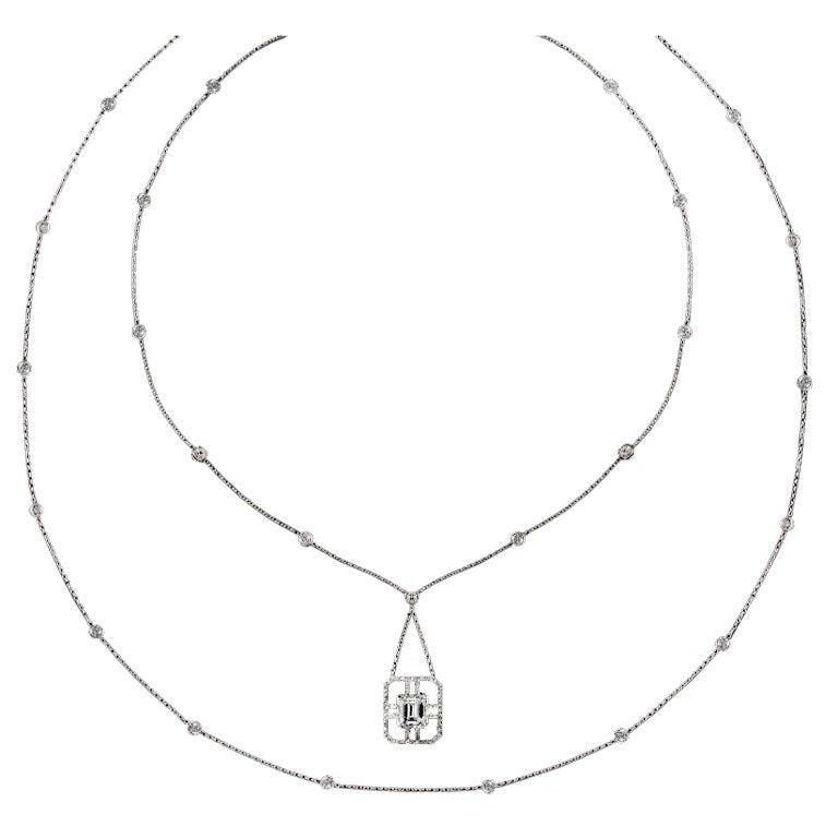 Alexandra Mor Emerald-Cut Sautoir Diamond Necklace 1