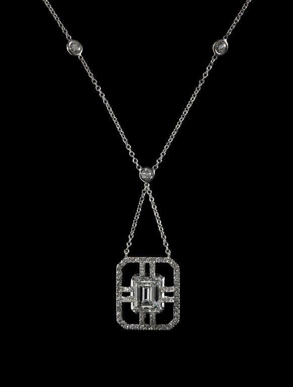 Alexandra Mor Emerald-Cut Sautoir Diamond Necklace 3