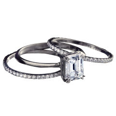 Alexandra Mor Emerald Cut Diamond Three-Ring Set featuring 1.23 Ct Center GIA