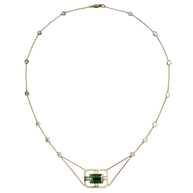 Alexandra Mor Green Tourmaline Diamond Gold Drop Necklace 1
