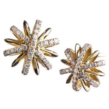 Diamond and Yellow Gold Snowflake Earrings
