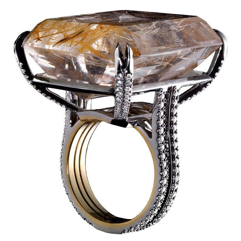 Emerald Cut Rutilated Quartz And Diamond Ring At 1stdibs