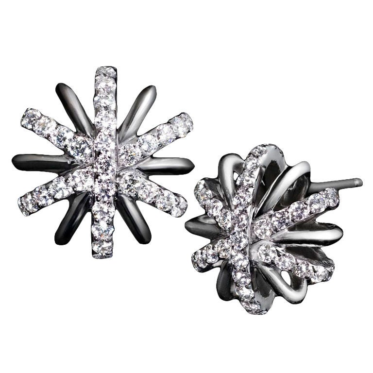 Alexandra Mor Diamond Platinum Snowflake Earrings