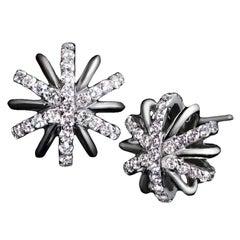 Alexandra Mor Diamond Platinum Snowflake Earrings