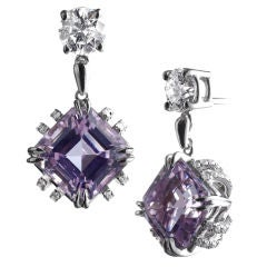 Alexandra Mor Asscher-Cut Kunzite and Diamond Earrings
