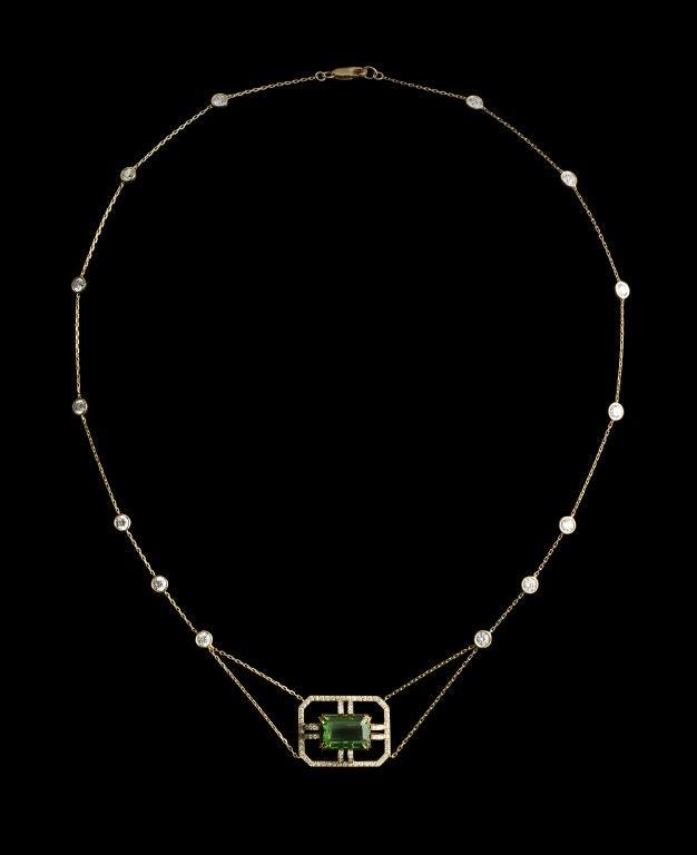 Alexandra Mor Green Tourmaline Diamond Gold Drop Necklace 2