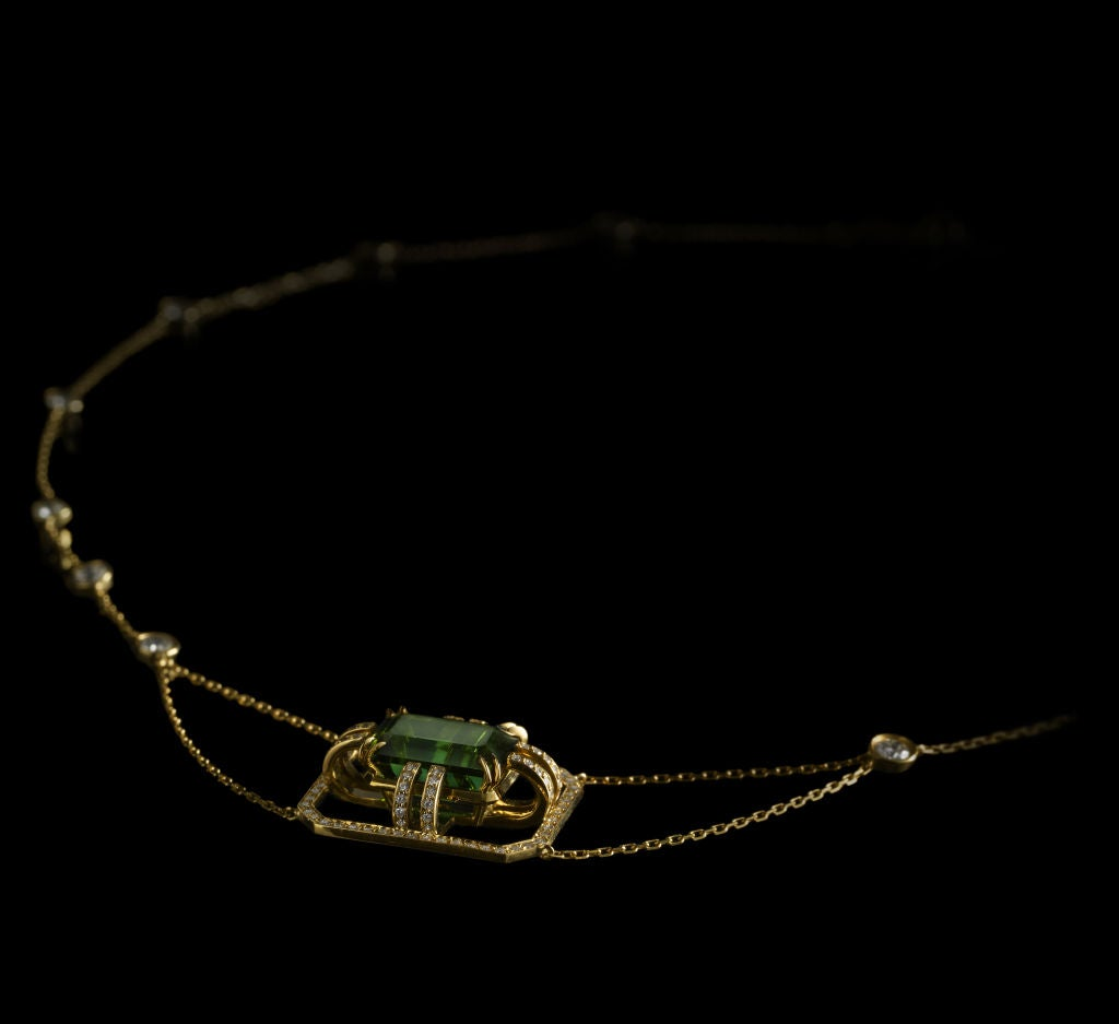 Alexandra Mor Green Tourmaline Diamond Gold Drop Necklace 3
