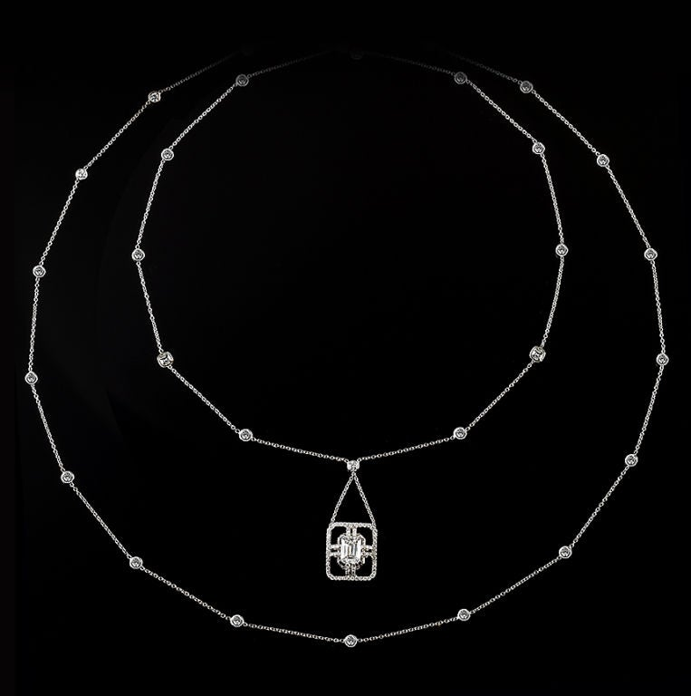 *Please contact us for more information on this piece or on creating your own Alexandra Mor custom Design.   A 18 inch long Alexandra Mor sautoir Emerald cut diamond necklace. Center encircled with rows of 1mm diamond melee, complemented by a pair