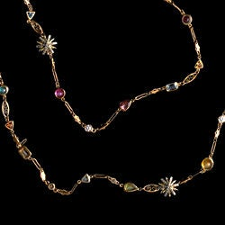 Contemporary Alexandra Mor Necklace with Diamonds and Precious Stones Sautoir For Sale