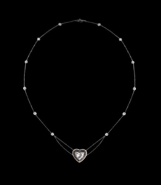 *Please contact us for more information on this piece or on creating your own Alexandra Mor custom Design.   An Alexandra Mor 18 inch necklace with 3.81 carat heart shape diamond encircled with Alexandra Mor's signature details of floating diamond