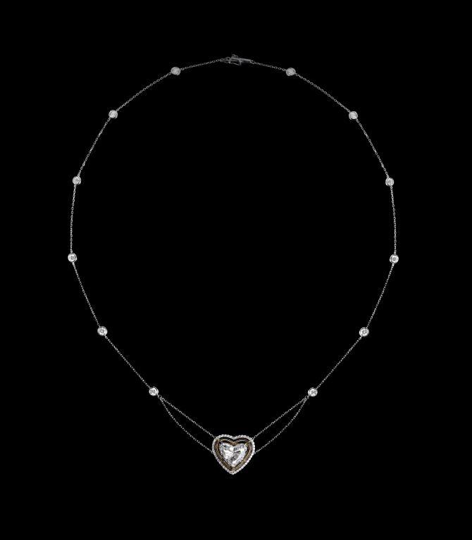 Alexandra Mor Heart Shape Diamond Necklace 2