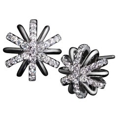 Alexandra Mor Diamond Snowflake Earrings in Platinum