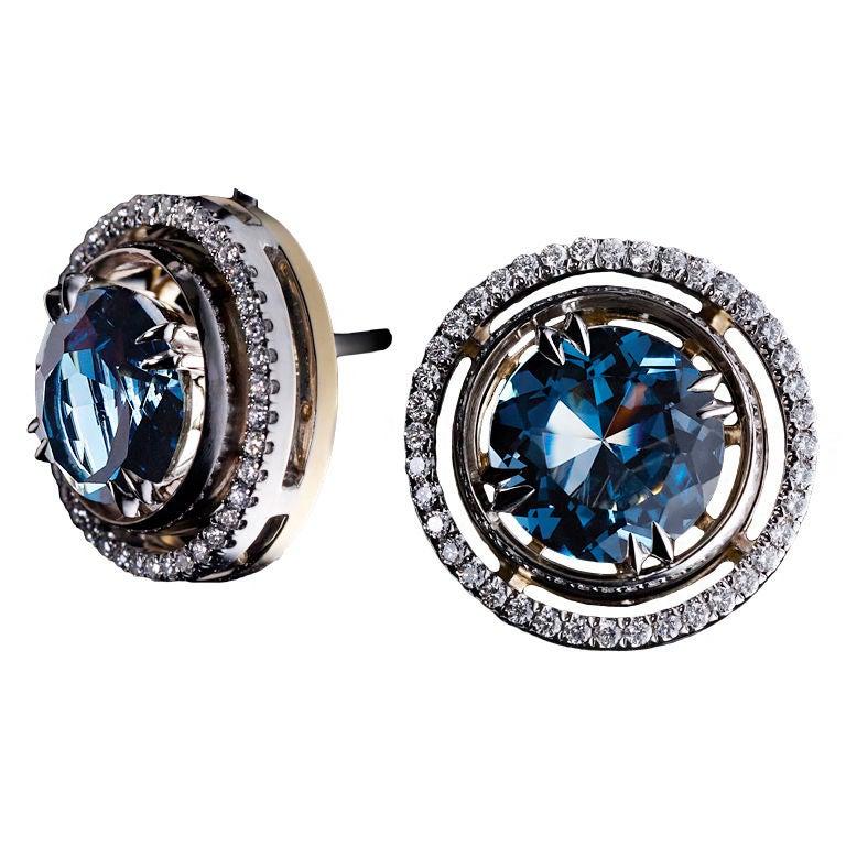 Alexandra Mor London Blue Topaz Studs and Diamond Jacket Earrings