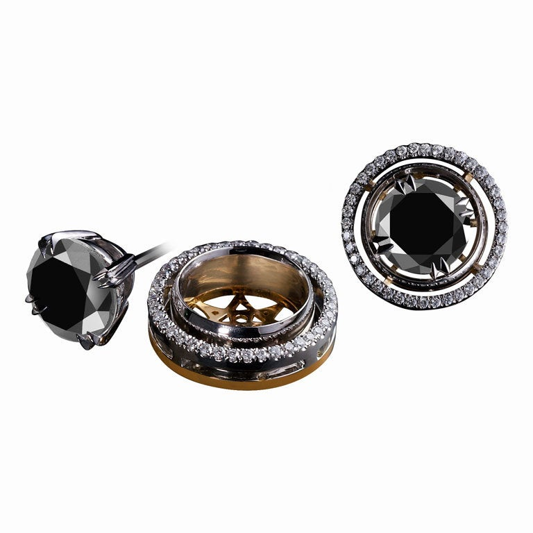 Alexandra Mor Black Diamond Stud Earrings and Diamond Earring Jackets