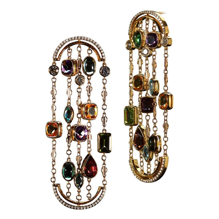 Diamonds and Precious Stones Sautoir Arched Earrings