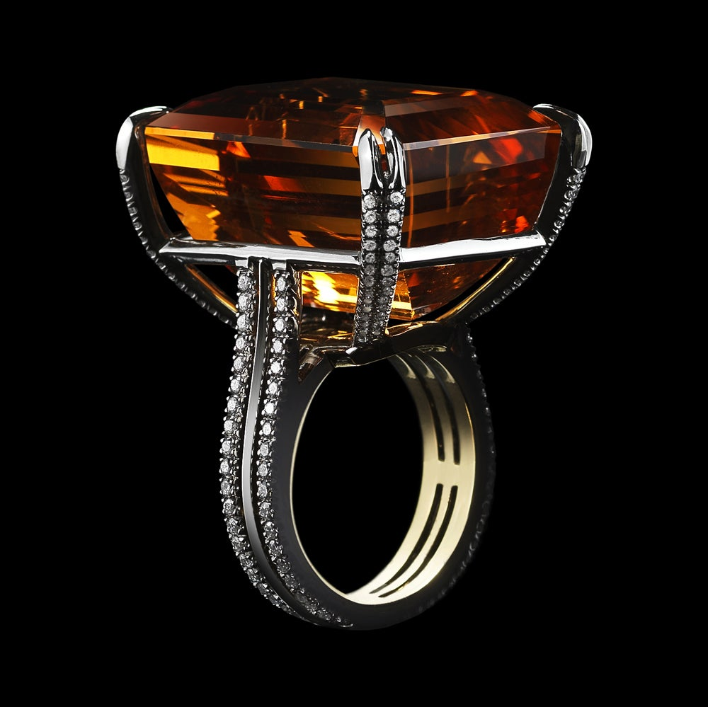 emerald cut yellow citrine and ring at 1stdibs