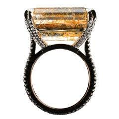 Emerald-cut Rutilated Quartz & Diamond Ring