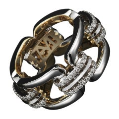 Alexandra Mor Flexible Chain Link Diamond Gold Ring