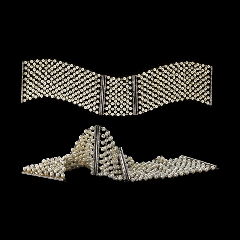 *Please contact us for more information on this piece or on creating your own Alexandra Mor custom Design.   A pair of Alexandra Mor Pearl-mesh and Diamond cuff bracelets set in 18 karat white gold detailed with Alexandra Mor's signature knife-edged
