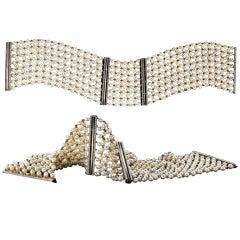 Alexandra Mor Pearl-Mesh Diamond Cuff Bracelet Pair