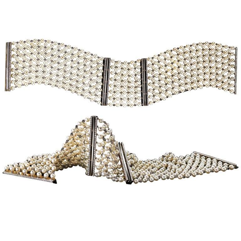 Alexandra Mor Pearl-Mesh Diamond Cuff Bracelet Pair For Sale