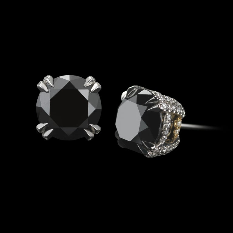 Contemporary Black Diamond and Diamond Melee Studs For Sale