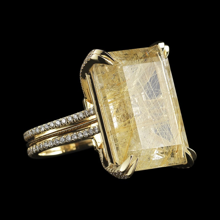 Rutilated Quartz Diamond Gold Cocktail Ring For Sale At