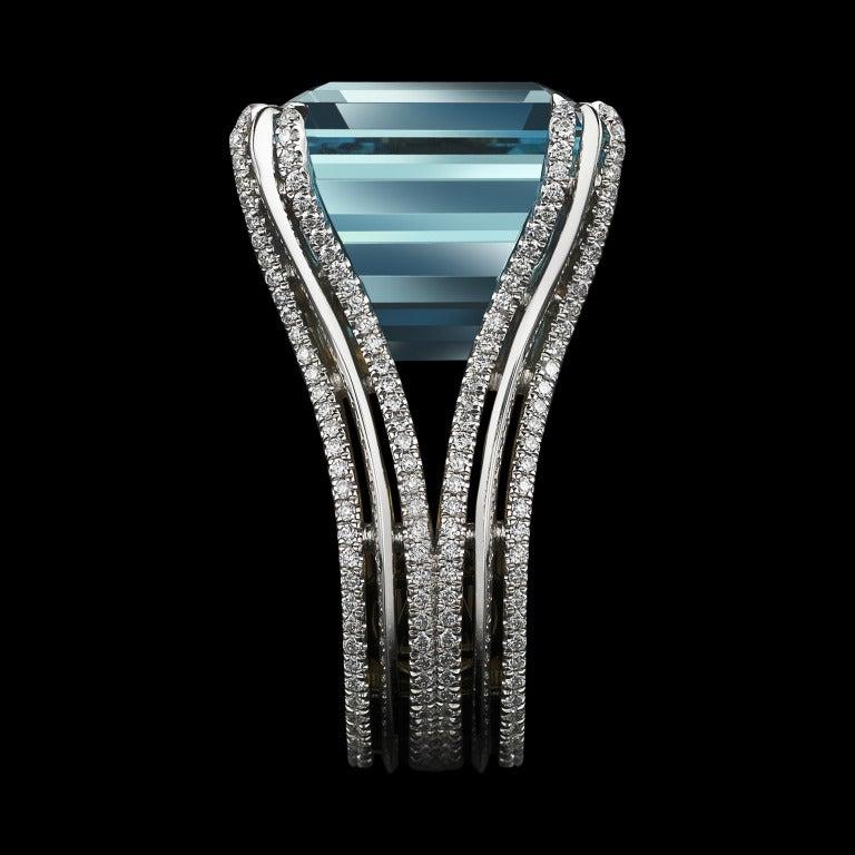 Asscher-Cut Intense Aquamarine & Diamond Ring 3