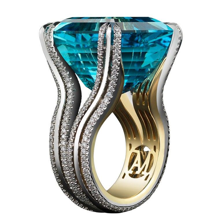 Asscher-Cut Intense Aquamarine & Diamond Ring 1