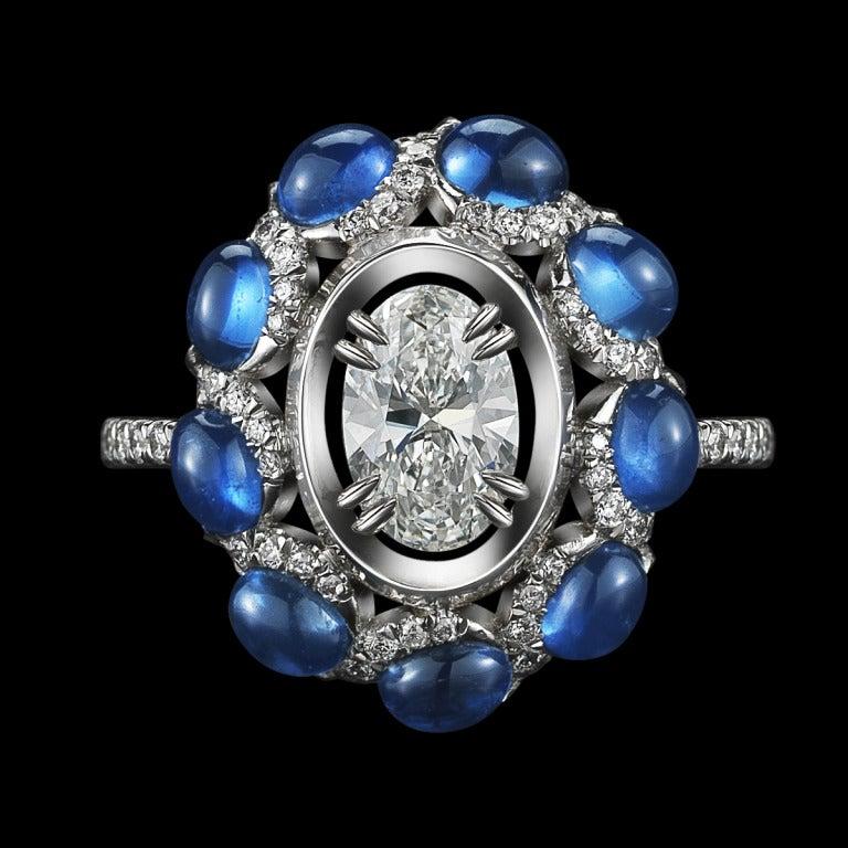 Oval Diamond & Sapphire Ring 2