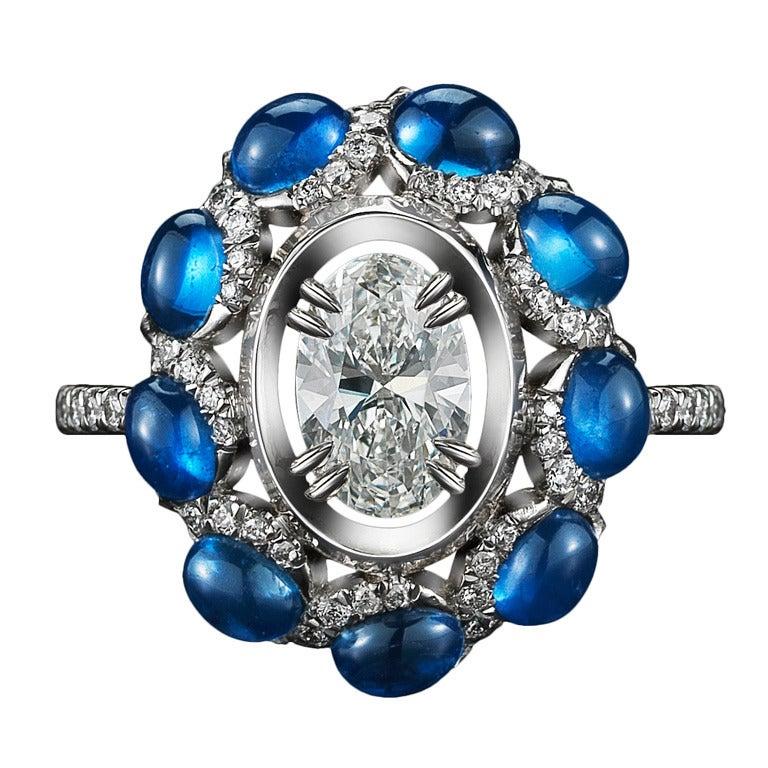 Oval Diamond & Sapphire Ring 1
