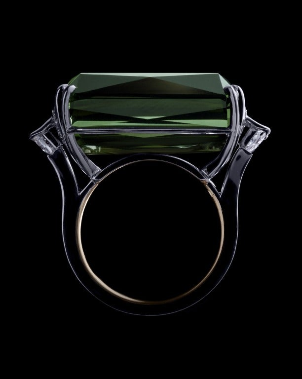 Alexandra Mor Green Tourmaline Diamond Platinum Cocktail Ring 3