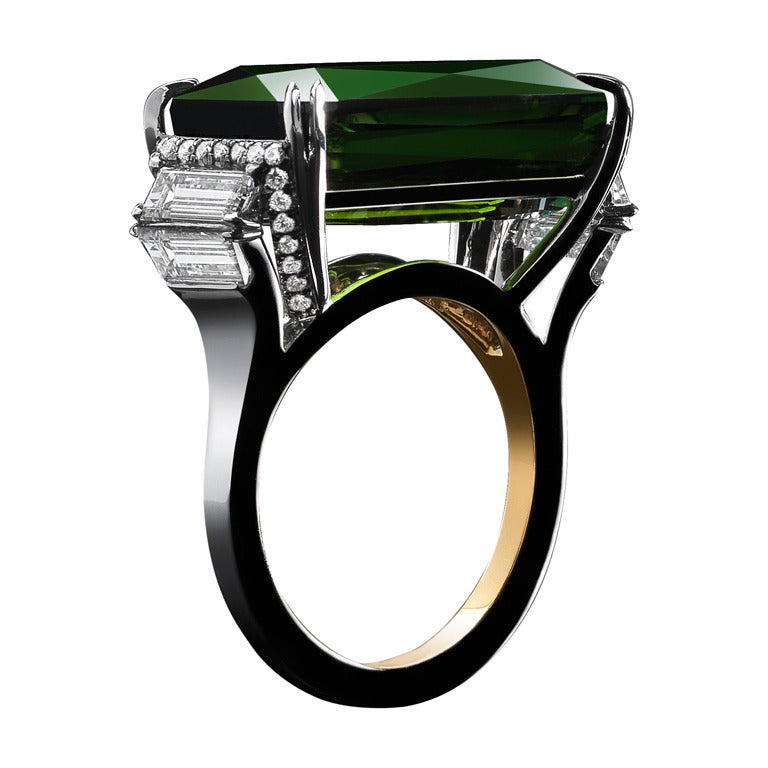 Alexandra Mor Green Tourmaline Diamond Platinum Cocktail Ring 1
