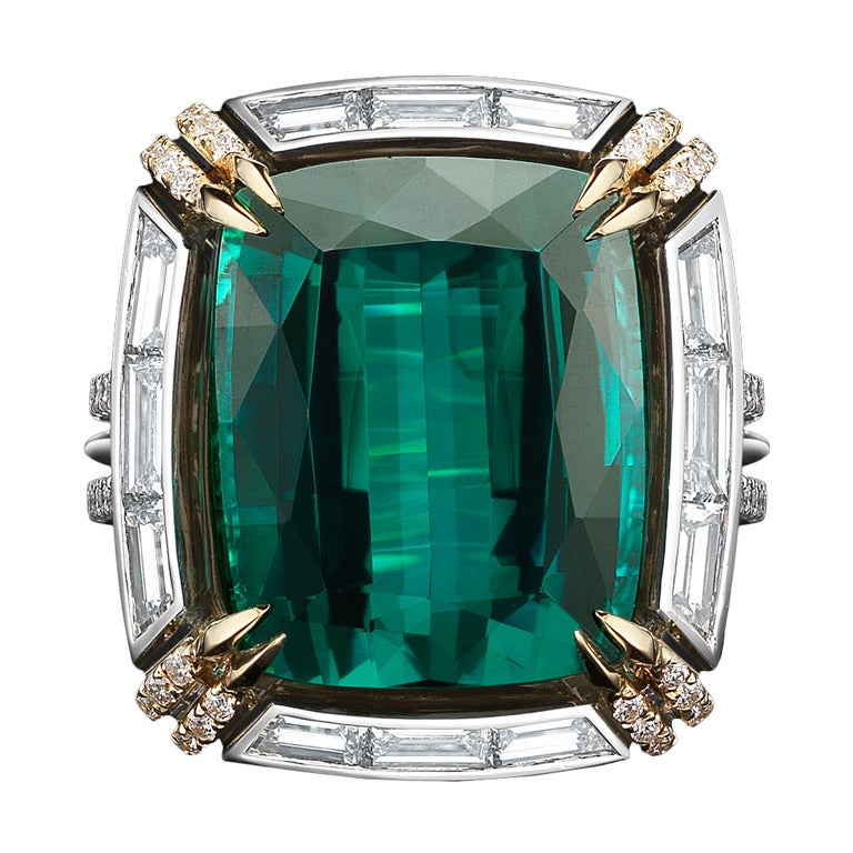Green Blue Tourmaline And Diamond Ring At 1stdibs