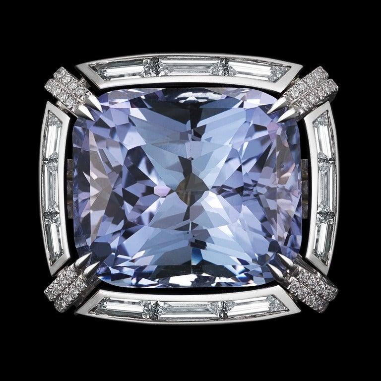 Contemporary Alexandra Mor Cushion Cut Tanzanite Diamond Ring For Sale