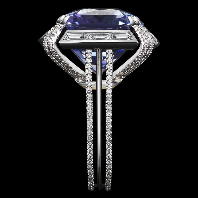 Alexandra Mor Cushion Cut Tanzanite Diamond Ring In As new Condition For Sale In New York, NY