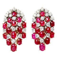 VAN CLEEF & ARPELS Diamond Ruby and Gold Earrings