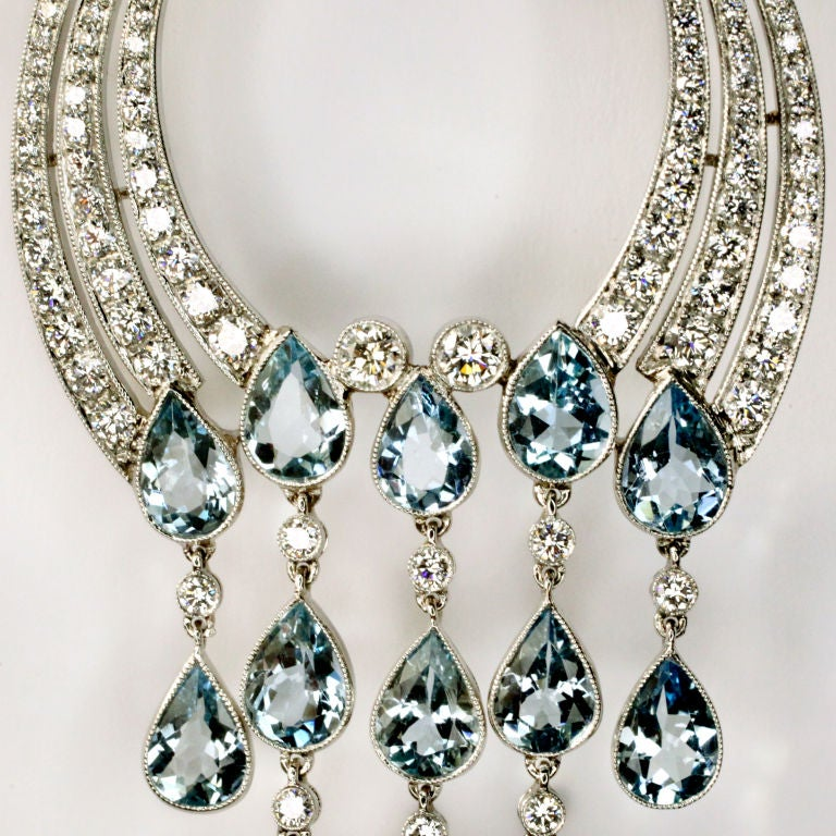 Long Diamond Aquamarine Chandelier Earrings For 1