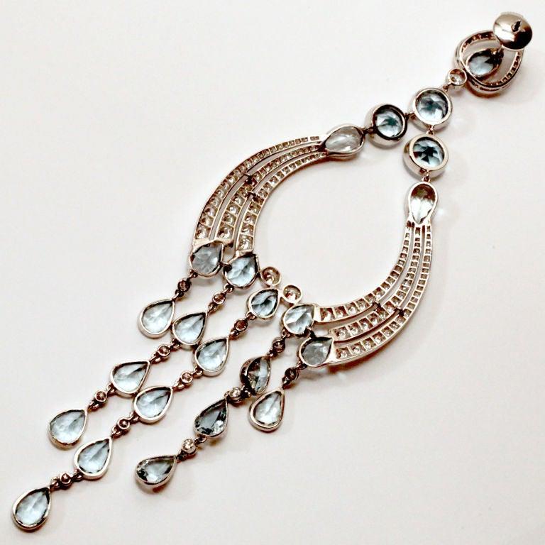 Long Diamond/Aquamarine Chandelier Earrings 4