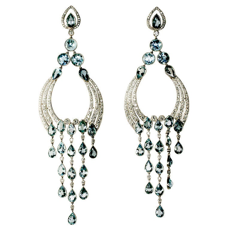 Long Diamond/Aquamarine Chandelier Earrings 1