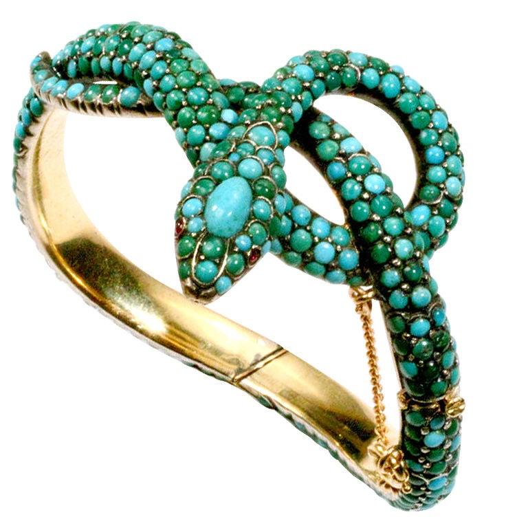 Antique Turquoise Snake Bracelet For Sale