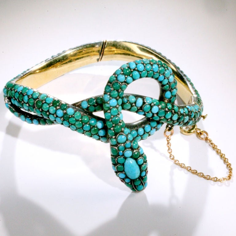 Women's Antique Turquoise Snake Bracelet For Sale