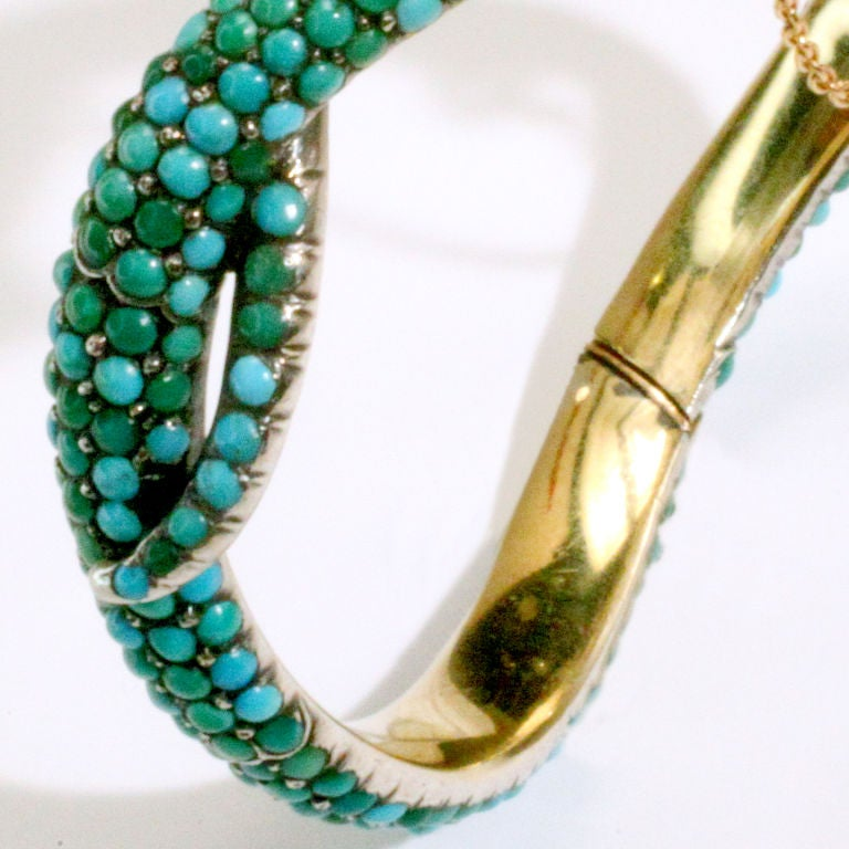 Antique Turquoise Snake Bracelet For Sale 1